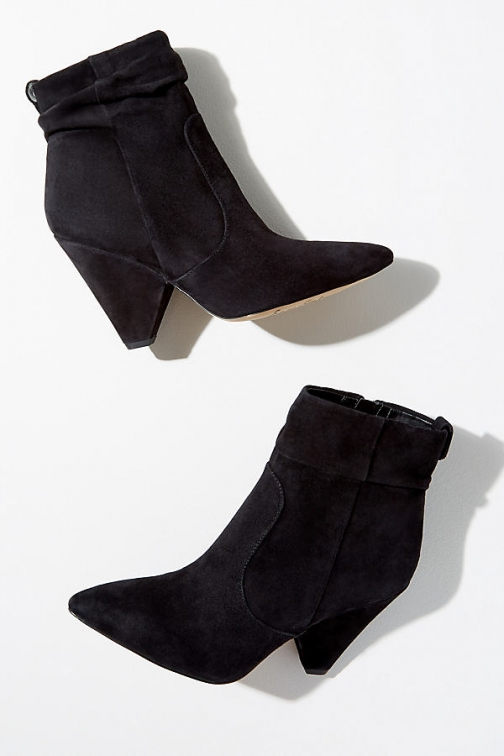 Anthropologie Sam Edelman Point-Toe Suede - Black, Size Ankle Boot
