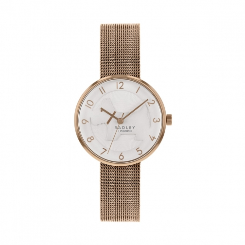 Radley Shadow White Cut Out Dog Dial With Rose Gold Mesh Strap Bracelet