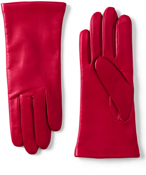 Lands' End Women's EZ Touch Screen Cashmere Lined Leather - Lands' End - Red - S Glove