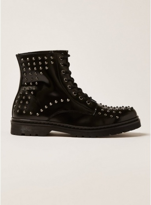 Topman Mens Black Leather Forge Stud , Black Boot