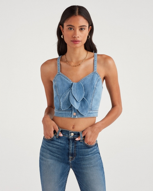 7 For All Mankind Women's Double Bustier With Distress Bright Blue Jay Tie