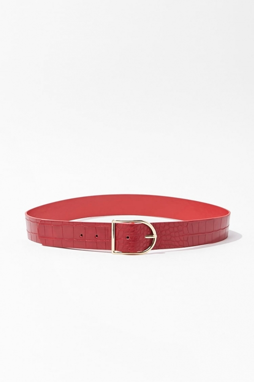 Forever21 Forever 21 Faux Croc Leather Hip , Red/gold Belt