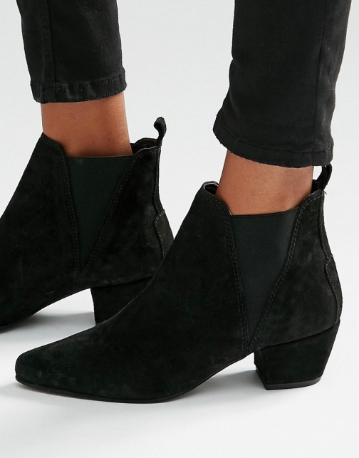 Warehouse Suede Low Heeled Chelsea Boot