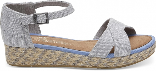 Toms Drizzle Grey Textured Chambray Youth Harper - Size UK5 / US6 Wedge