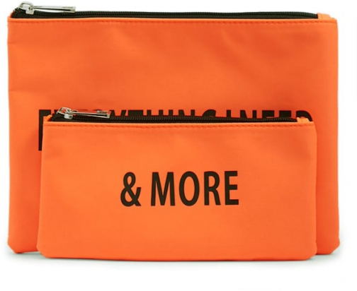Forever21 Forever 21 Everything I Need Graphic Set , Neon Orange Pouch