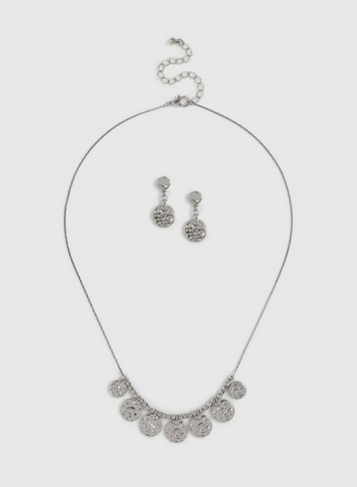Dorothy Perkins Silver Hammered Disc Set Jewellery