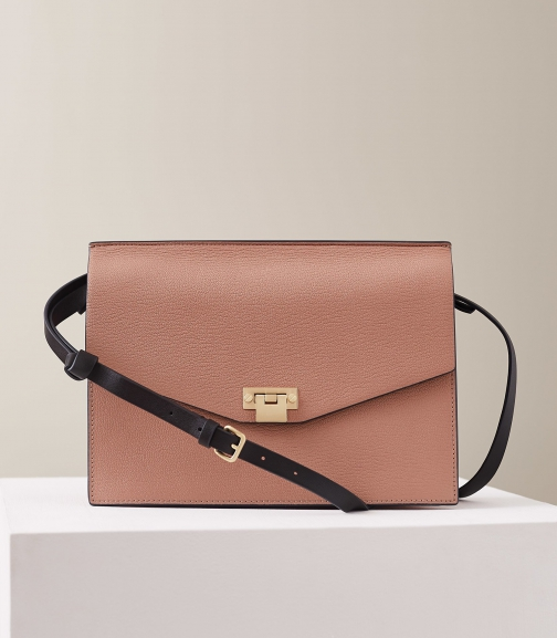 Reiss Conway - Leather Lock Closure Rosewood, Womens Shoulder Bag