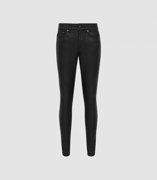 Reiss Lux Snake Coated - Coated Mid Rise Black, Womens, Size 24 Skinny Jeans