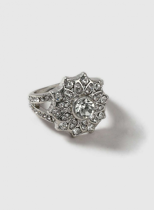 Dorothy Perkins Womens Silver Floral Cocktail - Silver Ring