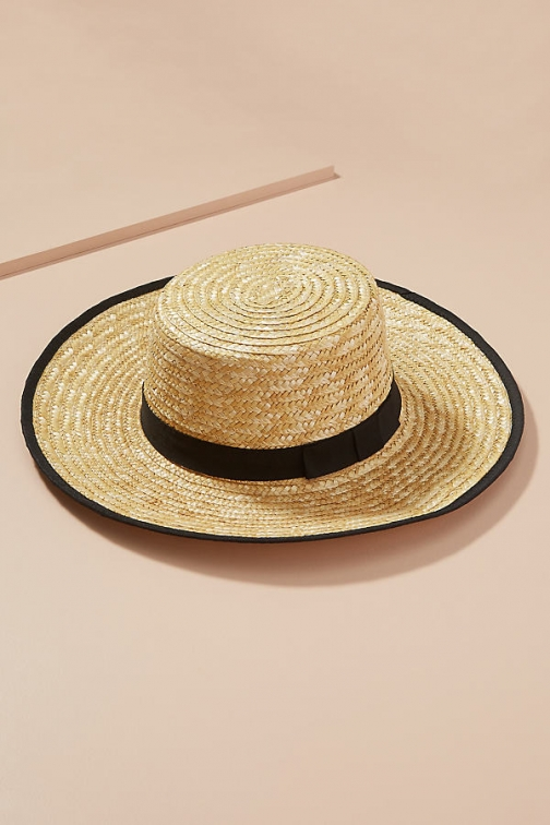 Anthropologie Terrie Straw Boater Hat