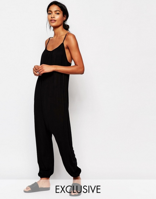 Asos Nocozo Relaxed With Rouched Neck Jumpsuit