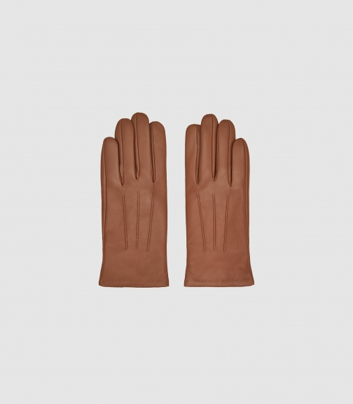 Reiss Belle - Leather Camel, Womens, Size L Glove