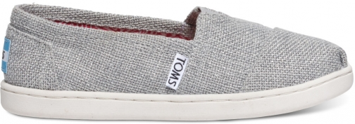 Toms Silver Linen Glimmer Youth Classics Slip-On - Size UK5 / US6 Shoes