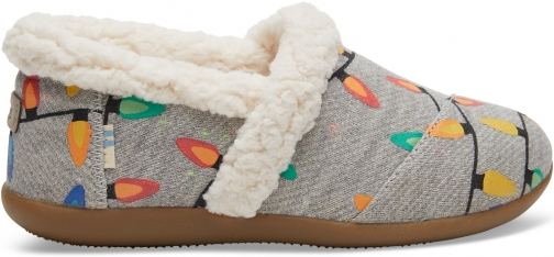 Toms Light Grey Glow The Dark Tree Lights Youth House - Size UK5 / US6 Slipper