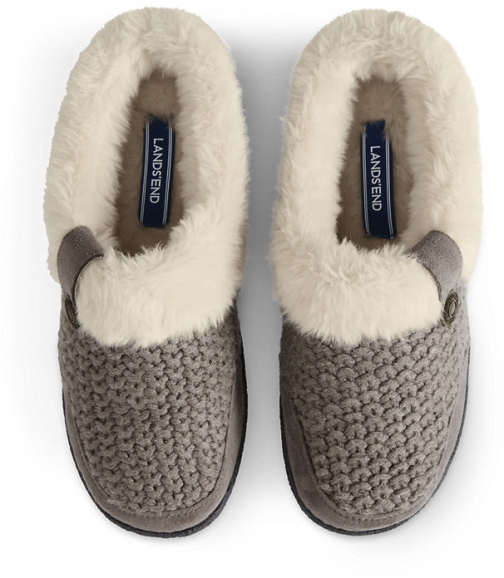 Lands' End Women's Knit Fuzzy Clog - Lands' End - Brown - 6 Slippers