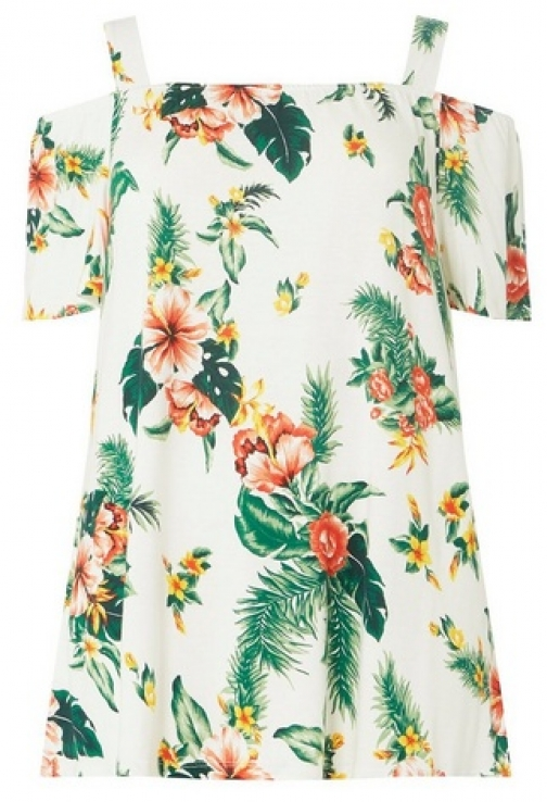 Dorothy Perkins Womens **DP Curve Ivory Tropical Print Cold Shoulder - White, White Top