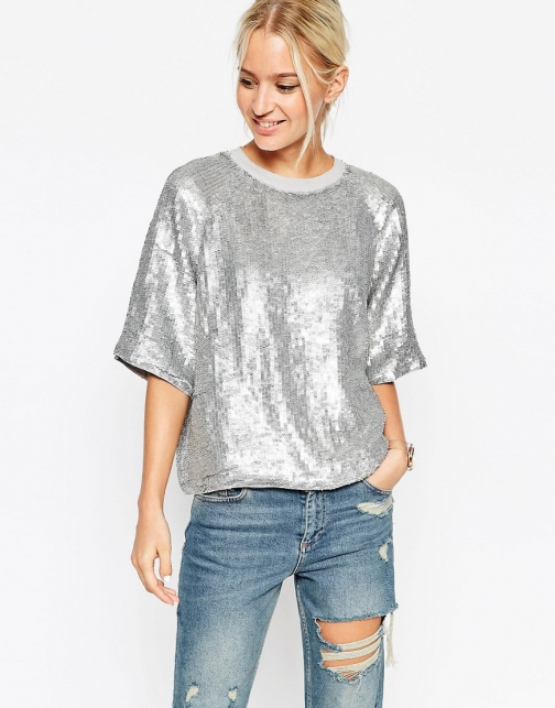 Asos Glitter Sequin Silver Sweat T-Shirt