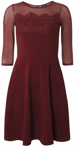 Dorothy Perkins Womens Berry Mesh Lace - Red Dress