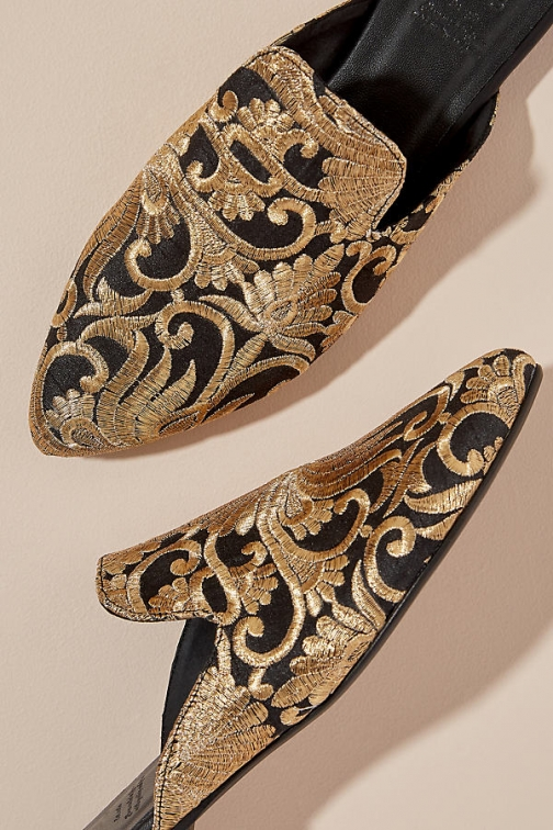 Anthropologie Metallic Embroidered Mules Mules