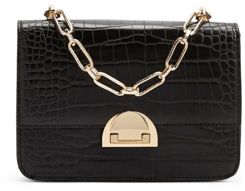 Forever21 Forever 21 Faux Crocodile Leather Black Crossbody Bag