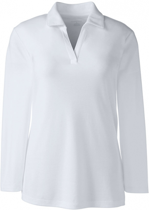 Lands' End Women's Petite 3/4 Sleeve Interlock Johnny - Lands' End - White - S Collar