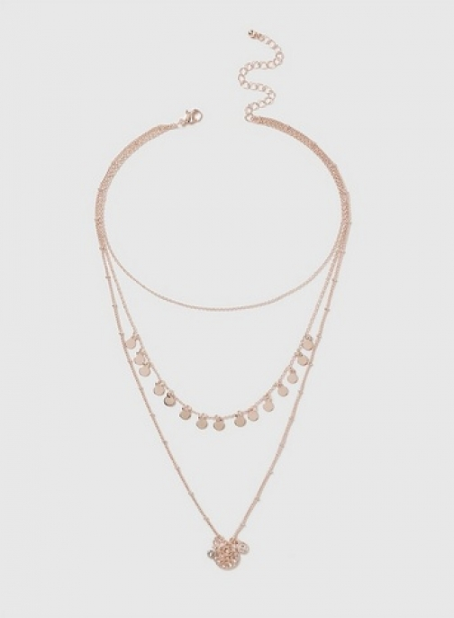 Dorothy Perkins Womens Disc Multirow - Rose Gold, Rose Gold Necklace