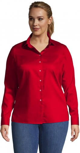 Lands' End Women's Plus Size Long Sleeve Performance Twill - Lands' End - Red - 1X Shirt