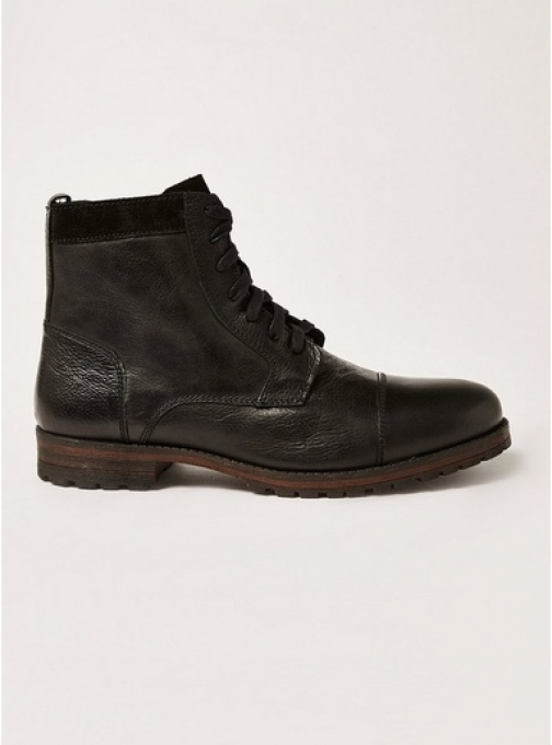 Topman Mens Black Leather Toby Lace , Black Boot
