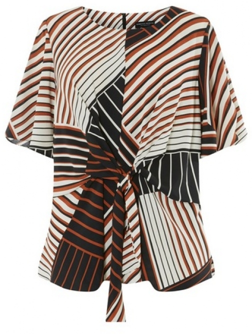 Dorothy Perkins Womens **DP Curve Multi Coloured Stripe Print Manipulated - Ivory, Ivory Top