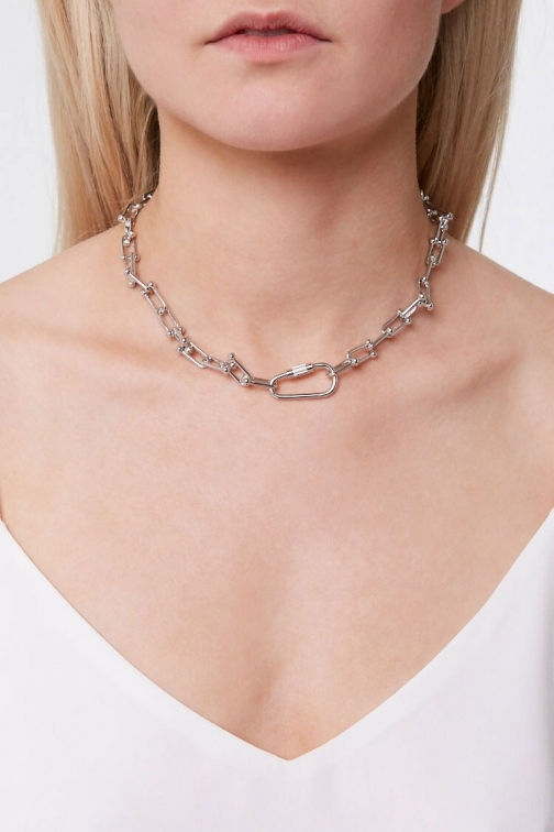 Forever21 Forever 21 Toggle Chain Necklace , Grey Chokers