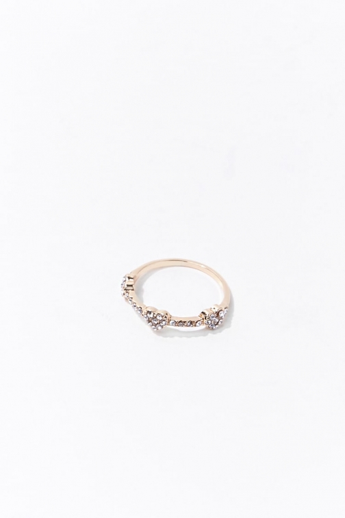 Forever21 Forever 21 Rhinestone Heart , Gold/clear Ring