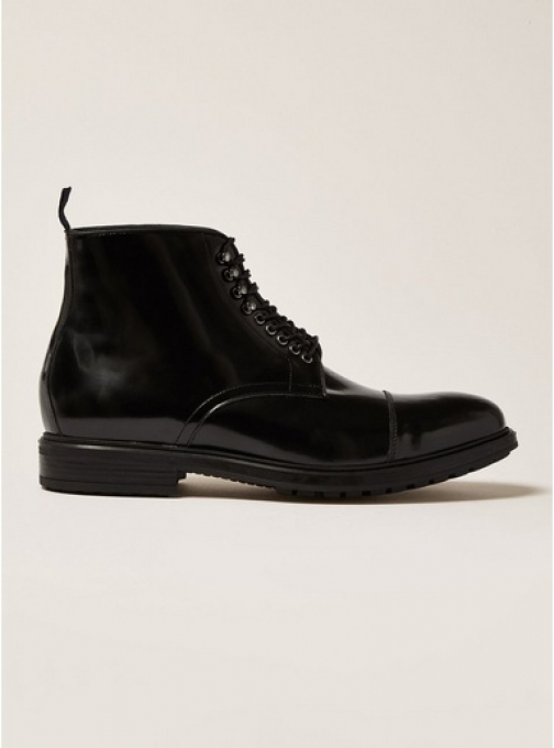 Topman Mens Black Premium Leather Orpin Lace Up , Black Boot