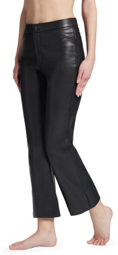 Calzedonia Cropped Flair Leather-Look Woman Black Size M Legging