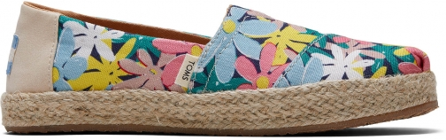 Toms Giant Flowers Print Rope Youth Classics Slip-On Shoes