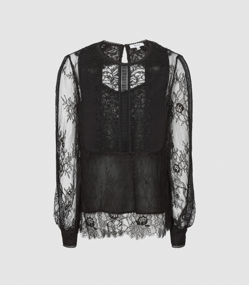Reiss Serena-sheer Lace - Semi Sheer Lace Black, Womens, Size 12 Blouse