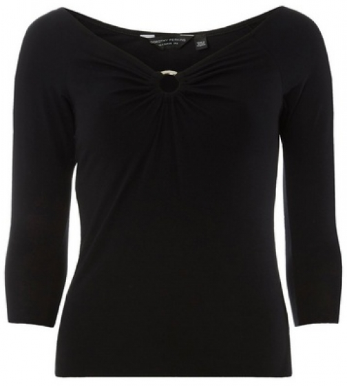 Dorothy Perkins Black Front 3/4 Sleeve Top Ring