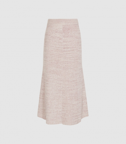 Reiss Skyla - Knitted Pink, Womens, Size XS Midi Skirt