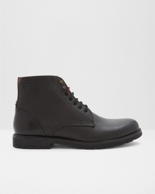 Ted Baker Pebble Grain Leather Ankle Black Boot