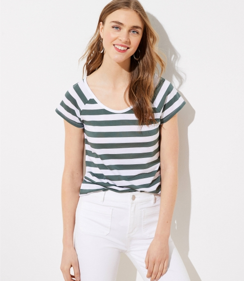 Loft Striped Fitted Scoop Neck Tee T-Shirt