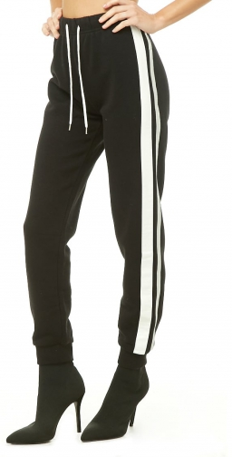 Forever21 Forever 21 Duo-Tone Trim Black/silver Jogger