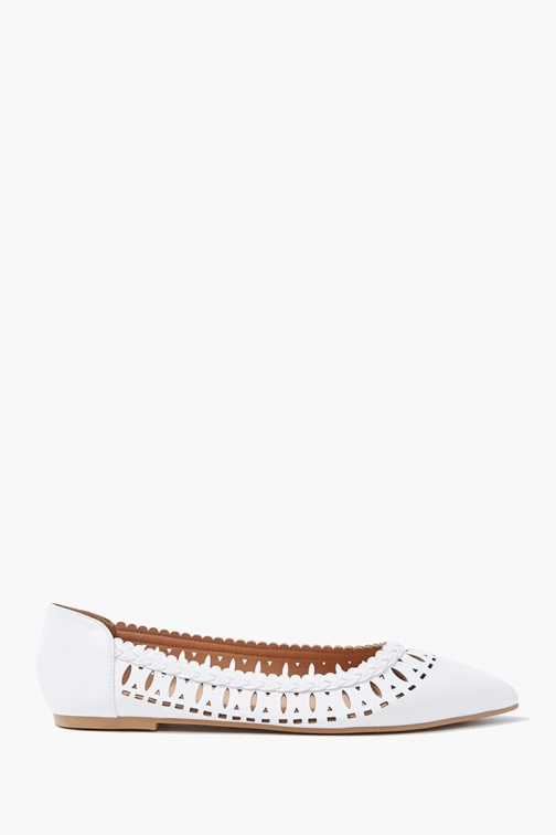 Forever21 Forever 21 Cutout Braid-Trim , White Flats
