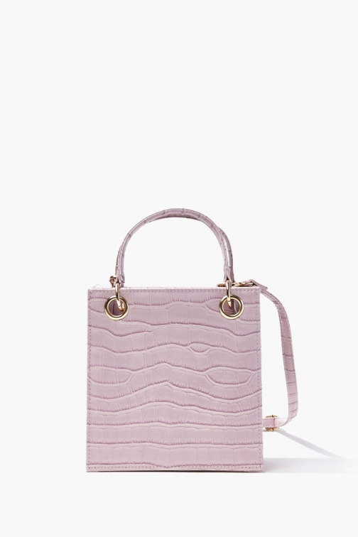 Forever21 Faux Croc Leather Bag At Forever 21 , Purple Tote