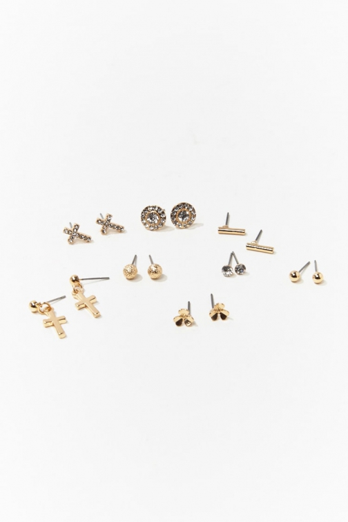 Forever21 Forever 21 Assorted Stud & Drop Earring Set , Gold/clear Jewellery