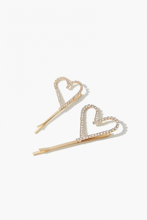 Forever21 Forever 21 Rhinestone Heart Cutout Bobby , Gold Pin