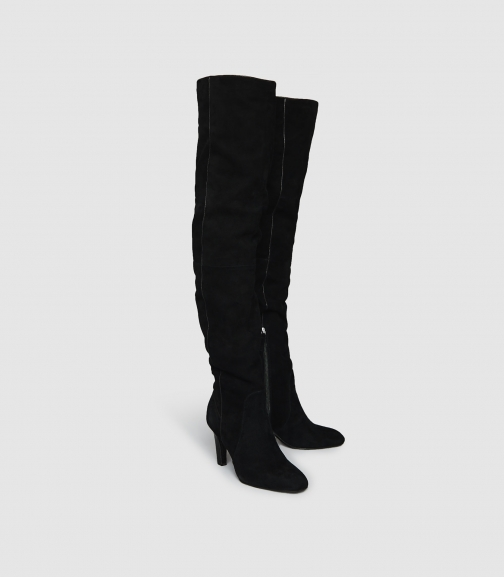 Reiss Raquel - Suede Over The Knee Black, Womens, Size 6 Boot