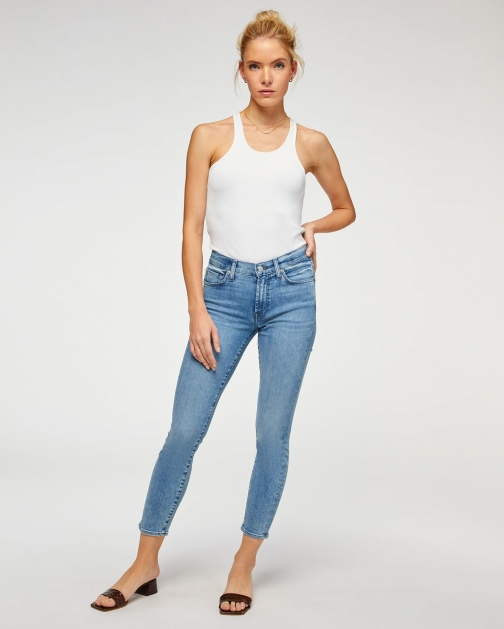 7 For All Mankind Womens The Ankle Skinny Santana Blue Size: 23 Trouser