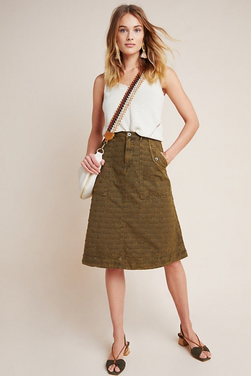 Anthropologie Velma Textured Skirt