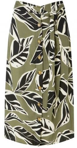 Dorothy Perkins Womens Leaf Print Button - Khaki, Khaki Midi Skirt