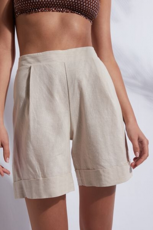 Calzedonia Cotton And Linen Woman Nude Size M Short