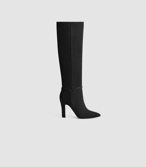 Reiss Eline - Suede Black, Womens, Size 3 Knee High Boots